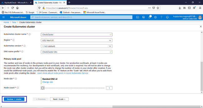 How to Create an Azure Kubernetes service (AKS) in Azure portal