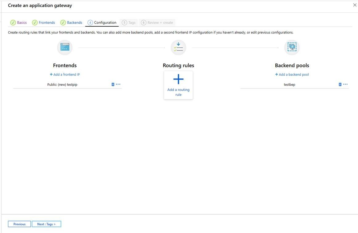 Application Gateway creation experience
