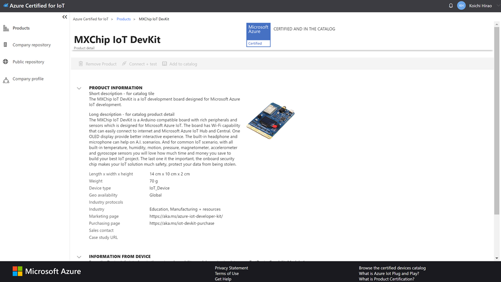 An image of the device page for the MXChip-Certified.