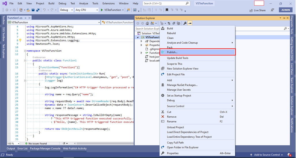 How To Create And Publish Azure Function From Visual Studio