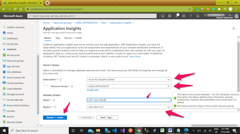 Application Insights In MVC Core + Web API Core + Entity Framework Core