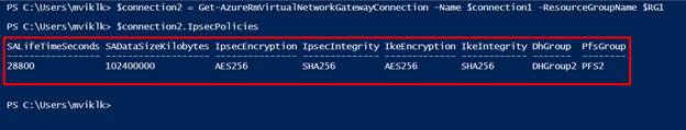 Upgrading the IPsec/IKE policy to the Azure Site-to-Site VPN Connection using the PowerShell Command