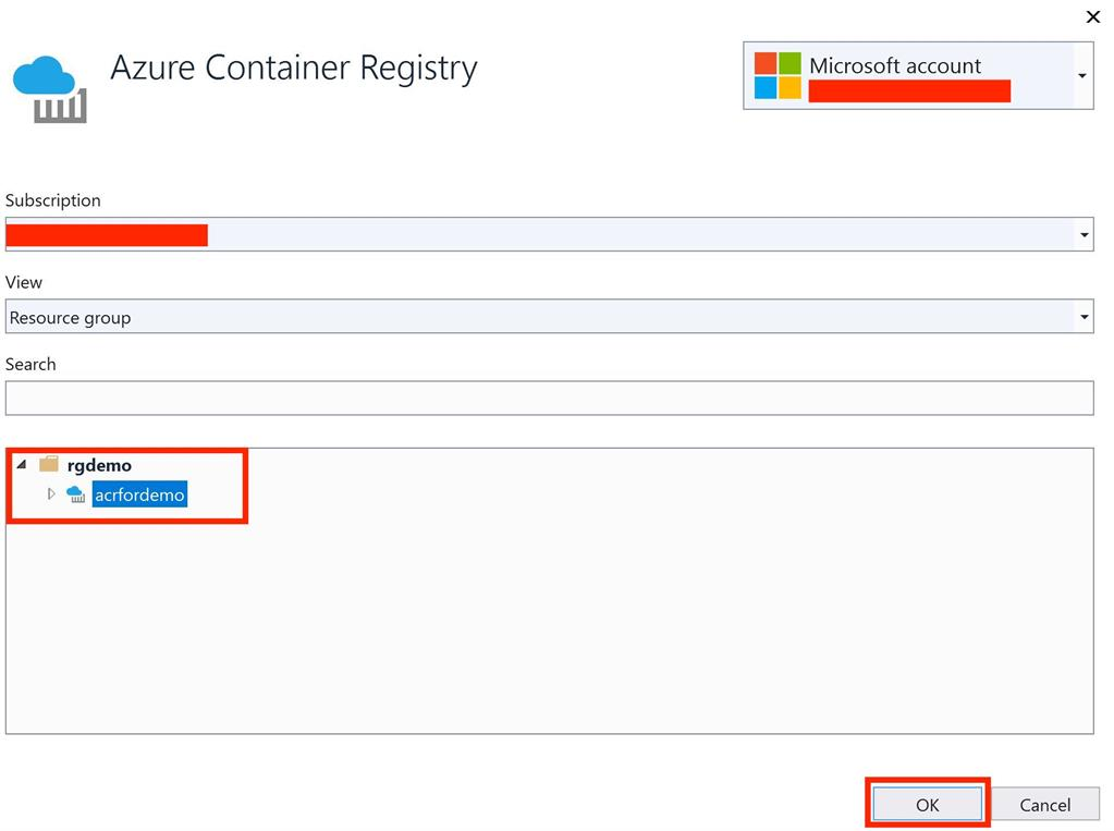 Containerize .NET Core Application and push it to Azure Container Registry using Visual Studio