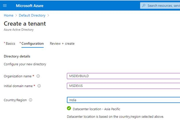 Getting Started Create A New Tenant With Custom Domain In Azure Active Directory